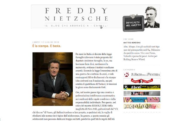 Screenshot della pagina iniziale del blog di Matteo Bordone