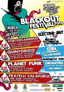 Locandina con il programma delle serate del Festival BlackOut 2010