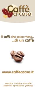 banner pubblicitario del sito di e-commerce dedicato alle cialde per il caffè domestico www.caffeacasa.it